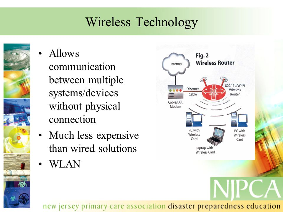 Wireless Technology Allows communication between multiple systems/devices without physical connection Much less expensive than wired solutions WLAN.
