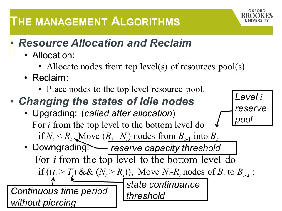Resource Allocation and Reclaim Allocation: Allocate nodes from top level(s) of resources pool(s) Reclaim: Place nodes to the top level resource pool.