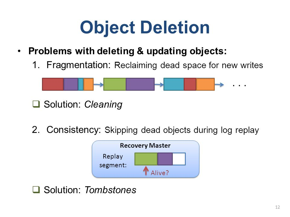 Object Deletion Problems with deleting & updating objects: 1.Fragmentation: Reclaiming dead space for new writes  Solution: Cleaning 2.Consistency: S