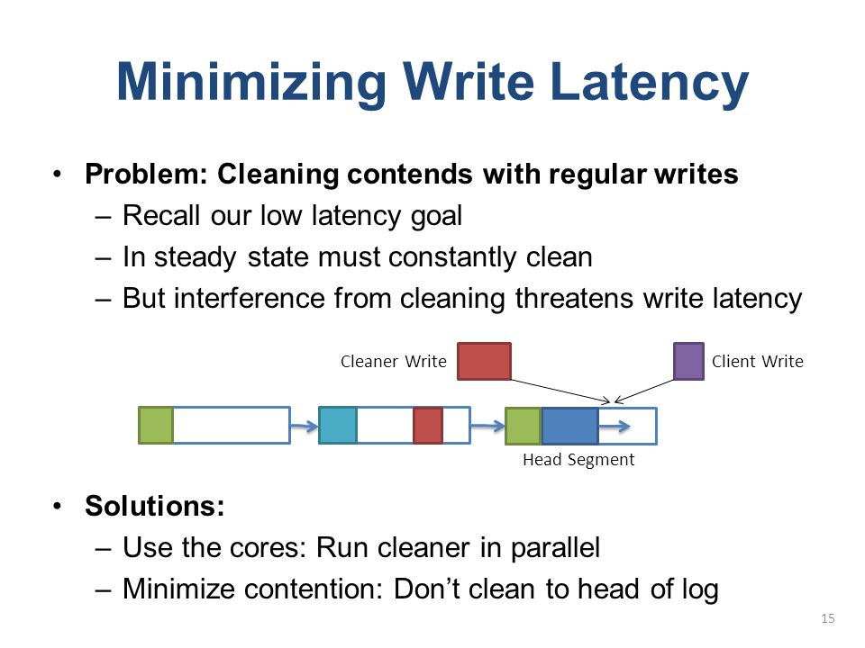 Minimizing Write Latency Problem: Cleaning contends with regular writes –Recall our low latency goal –In steady state must constantly clean –But inter