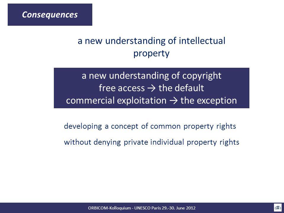 ORBICOM-Kolloquium - UNESCO Paris 29.-30. June 2012 10 Consequences a new understanding of intellectual property a new understanding of copyright free