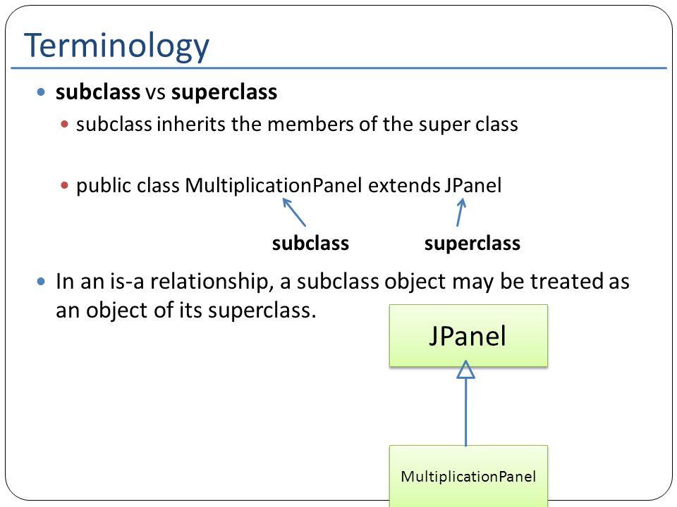 Terminology subclass vs superclass subclass inherits the members of the super class public class MultiplicationPanel extends JPanel In an is-a relatio