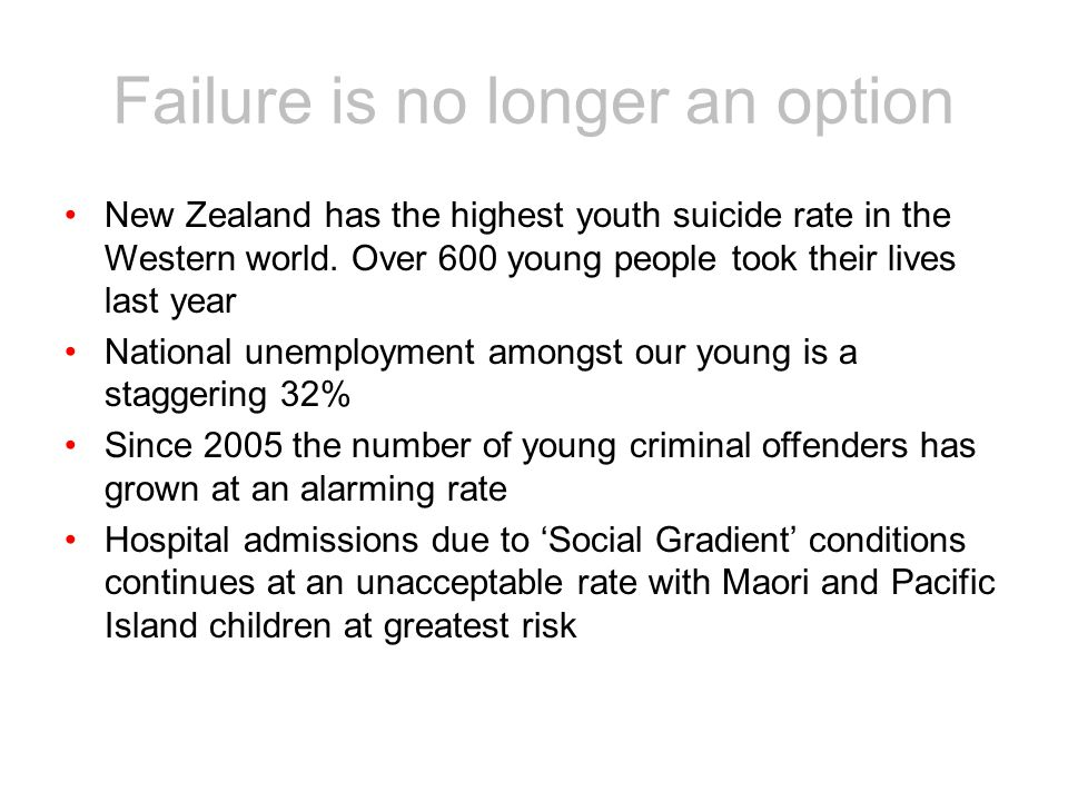 New Zealand has the highest youth suicide rate in the Western world.