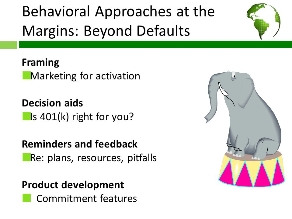 Behavioral Approaches at the Margins: Beyond Defaults Framing Marketing for activation Decision aids Is 401(k) right for you.