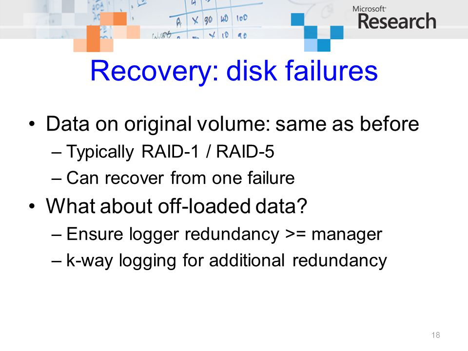 Recovery: disk failures Data on original volume: same as before –Typically RAID-1 / RAID-5 –Can recover from one failure What about off-loaded data? –