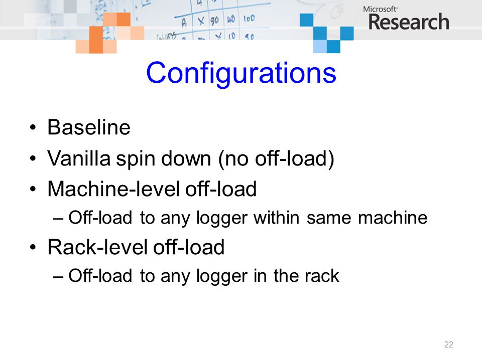 Configurations Baseline Vanilla spin down (no off-load) Machine-level off-load –Off-load to any logger within same machine Rack-level off-load –Off-lo