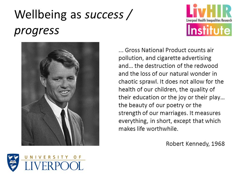 Wellbeing as success / progress...
