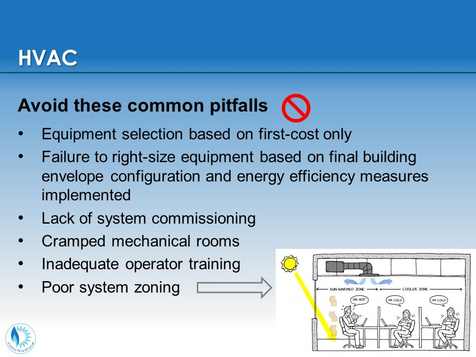 19 Avoid these common pitfalls Equipment selection based on first-cost only Failure to right-size equipment based on final building envelope configura