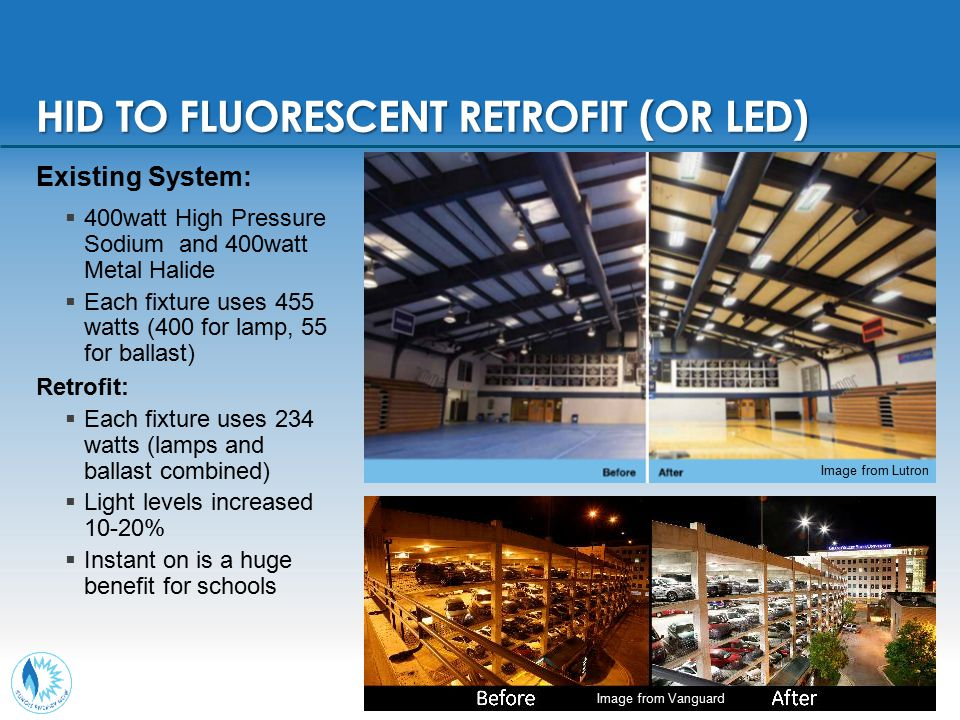 HID TO FLUORESCENT RETROFIT (OR LED) Existing System:  400watt High Pressure Sodium and 400watt Metal Halide  Each fixture uses 455 watts (400 for l