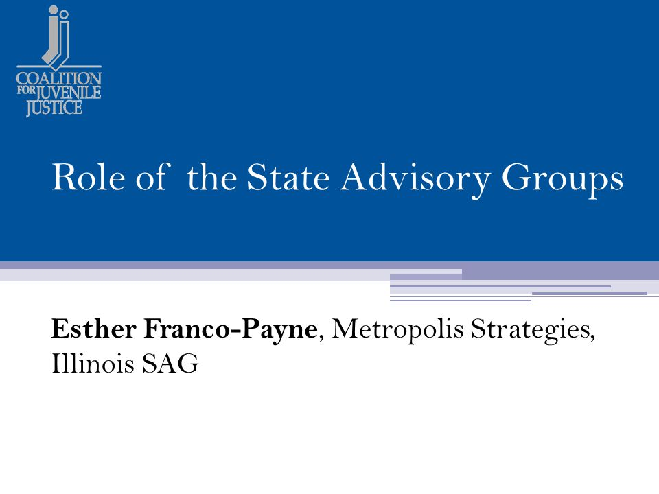 Role of the State Advisory Groups Esther Franco-Payne, Metropolis Strategies, Illinois SAG