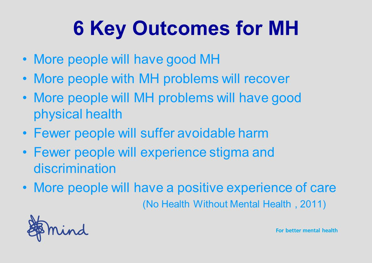 6 Key Outcomes for MH More people will have good MH More people with MH problems will recover More people will MH problems will have good physical hea