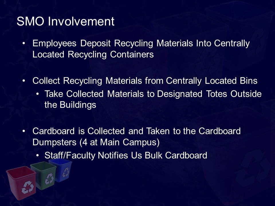 SMO Involvement Employees Deposit Recycling Materials Into Centrally Located Recycling Containers Collect Recycling Materials from Centrally Located Bins Take Collected Materials to Designated Totes Outside the Buildings Cardboard is Collected and Taken to the Cardboard Dumpsters (4 at Main Campus) Staff/Faculty Notifies Us Bulk Cardboard