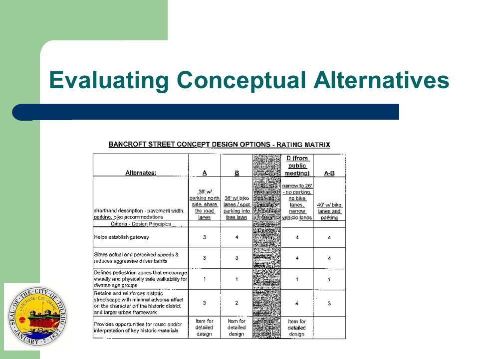 Evaluating Conceptual Alternatives