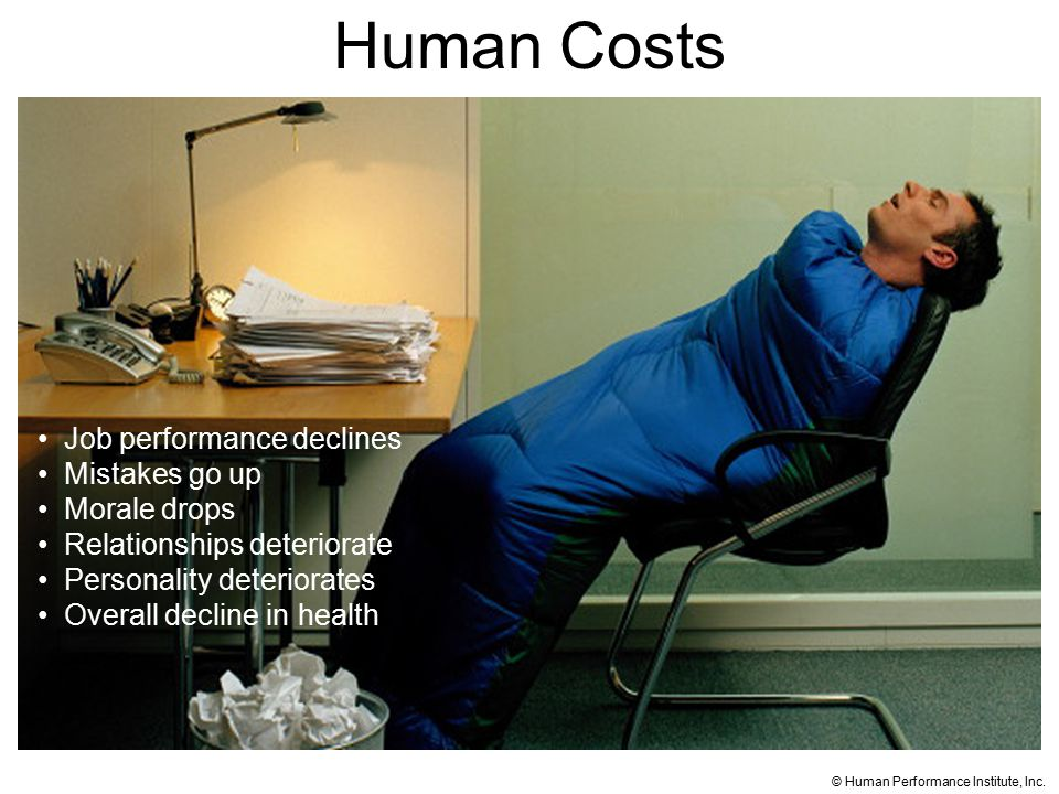 Human Costs Job performance declines Mistakes go up Morale drops Relationships deteriorate Personality deteriorates Overall decline in health © Human Performance Institute, Inc.