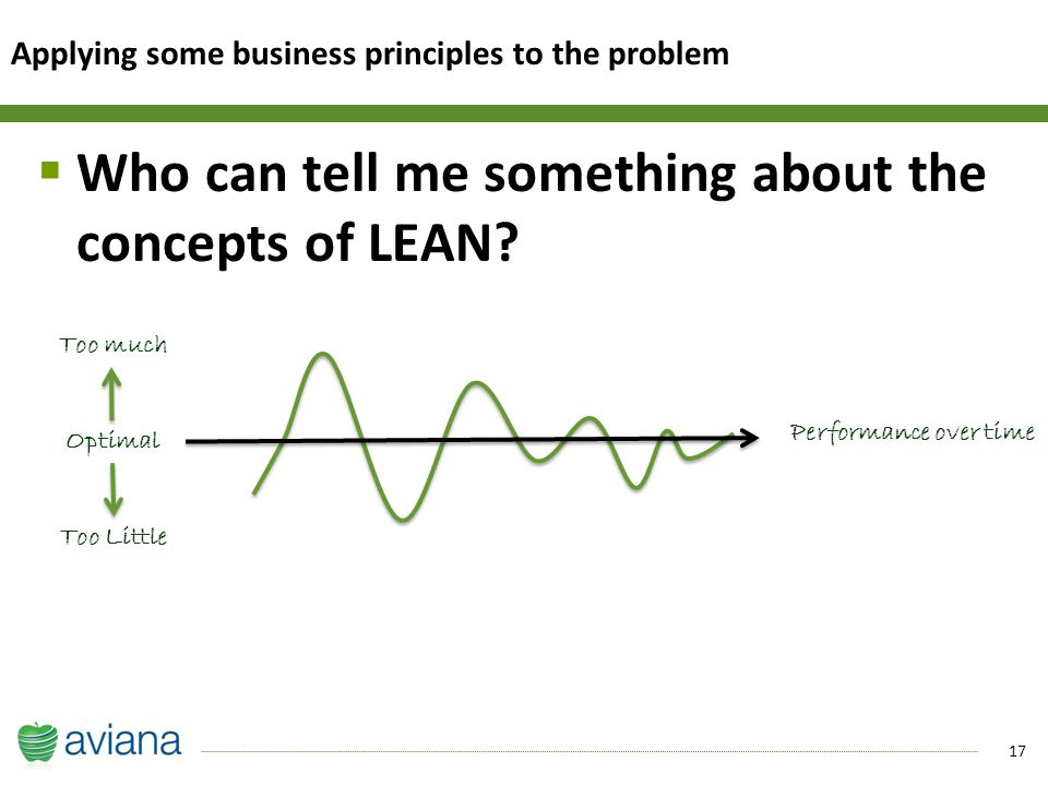 17  Who can tell me something about the concepts of LEAN.