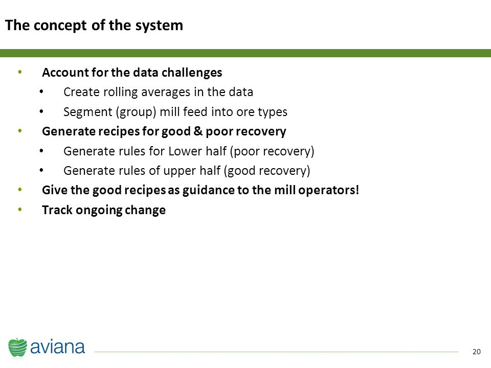 20 Account for the data challenges Create rolling averages in the data Segment (group) mill feed into ore types Generate recipes for good & poor recovery Generate rules for Lower half (poor recovery) Generate rules of upper half (good recovery) Give the good recipes as guidance to the mill operators.