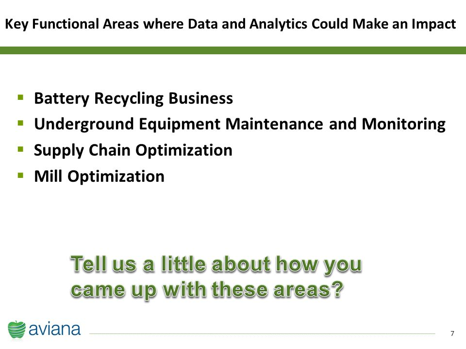 7  Battery Recycling Business  Underground Equipment Maintenance and Monitoring  Supply Chain Optimization  Mill Optimization Key Functional Areas where Data and Analytics Could Make an Impact