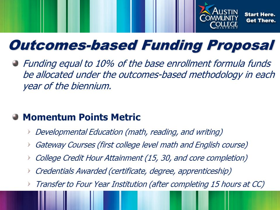 Outcomes-based Funding Proposal Funding equal to 10% of the base enrollment formula funds be allocated under the outcomes-based methodology in each year of the biennium.
