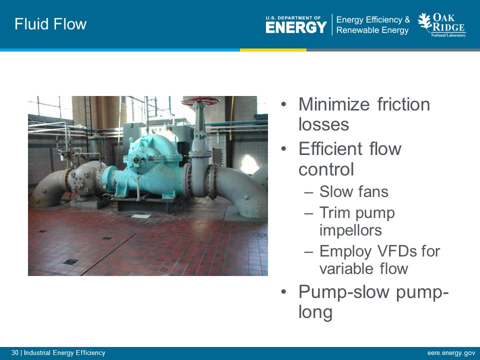 30 | Industrial Energy Efficiencyeere.energy.gov Fluid Flow Minimize friction losses Efficient flow control –Slow fans –Trim pump impellors –Employ VFDs for variable flow Pump-slow pump- long