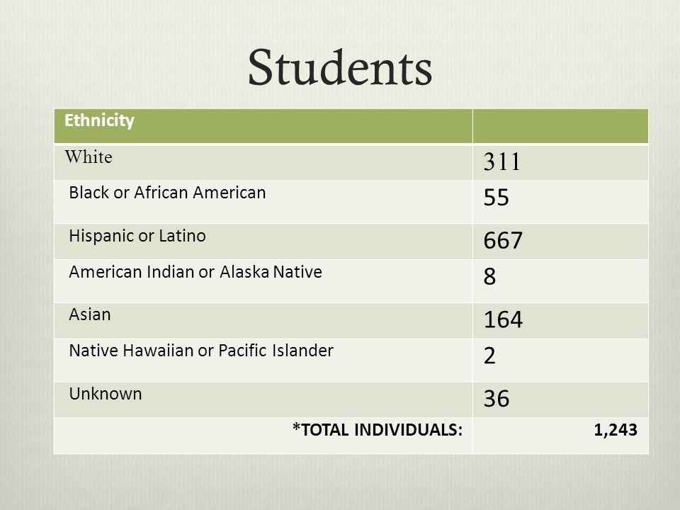 Students Ethnicity White 311 Black or African American 55 Hispanic or Latino 667 American Indian or Alaska Native 8 Asian 164 Native Hawaiian or Pacific Islander 2 Unknown 36 *TOTAL INDIVIDUALS:1,243