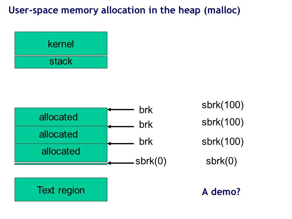 14 User-space memory allocation in the heap (malloc) kernel Text region stack sbrk(0) sbrk(100)brk sbrk(100) brk sbrk(100) brk sbrk(0) allocated A dem