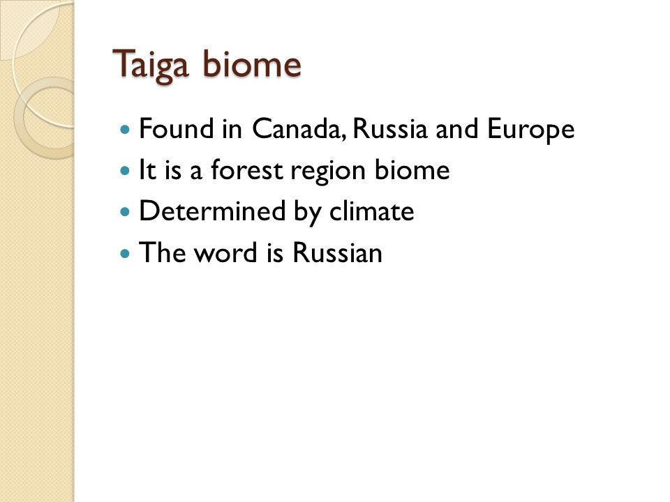 Taiga biome Found in Canada, Russia and Europe It is a forest region biome Determined by climate The word is Russian