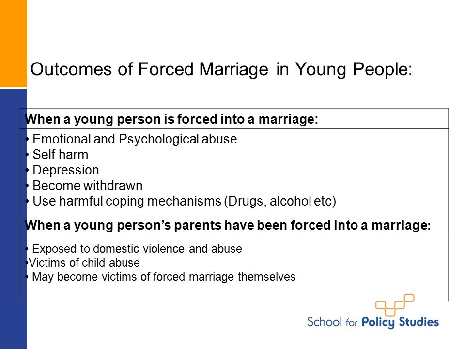 Outcomes of Forced Marriage in Young People: When a young person is forced into a marriage: Emotional and Psychological abuse Self harm Depression Become withdrawn Use harmful coping mechanisms (Drugs, alcohol etc) When a young person's parents have been forced into a marriage : Exposed to domestic violence and abuse Victims of child abuse May become victims of forced marriage themselves