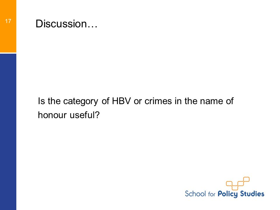 Discussion… Is the category of HBV or crimes in the name of honour useful 17