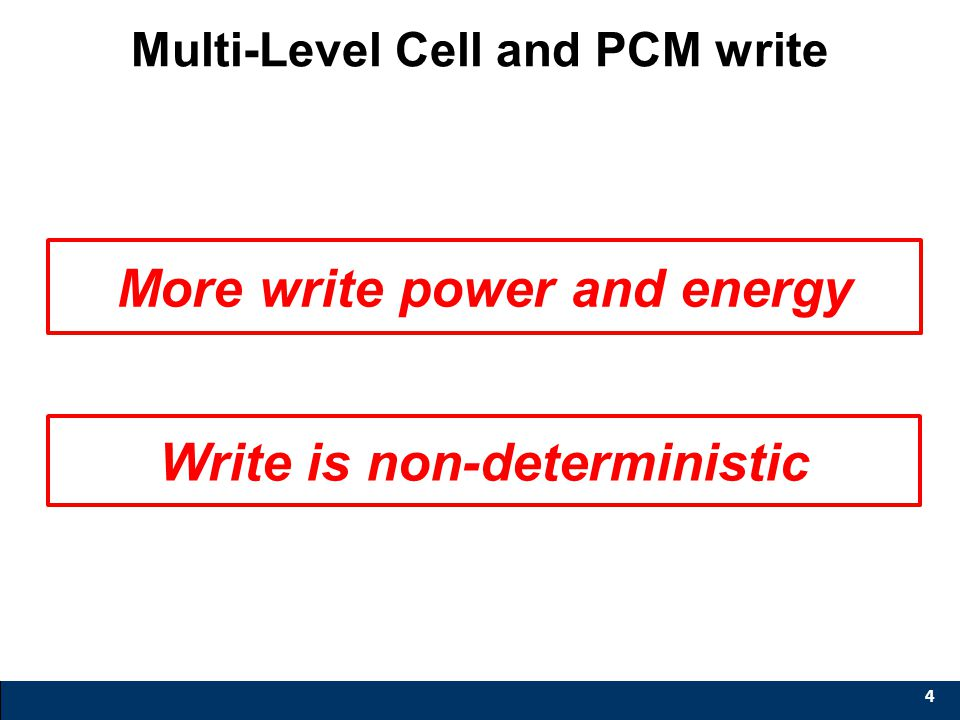 Voltage Time Multi-Level Cell and PCM write 4 Capacity ↑ Cost-per-bit ↓ Large Resistance Difference V verify … V set,0 V set,1 V set,2 Higher than V d
