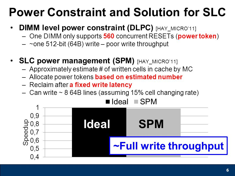 Power Constraint and Solution for SLC 6 DIMM level power constraint (DLPC) [HAY_MICRO'11] –One DIMM only supports 560 concurrent RESETs (power token)