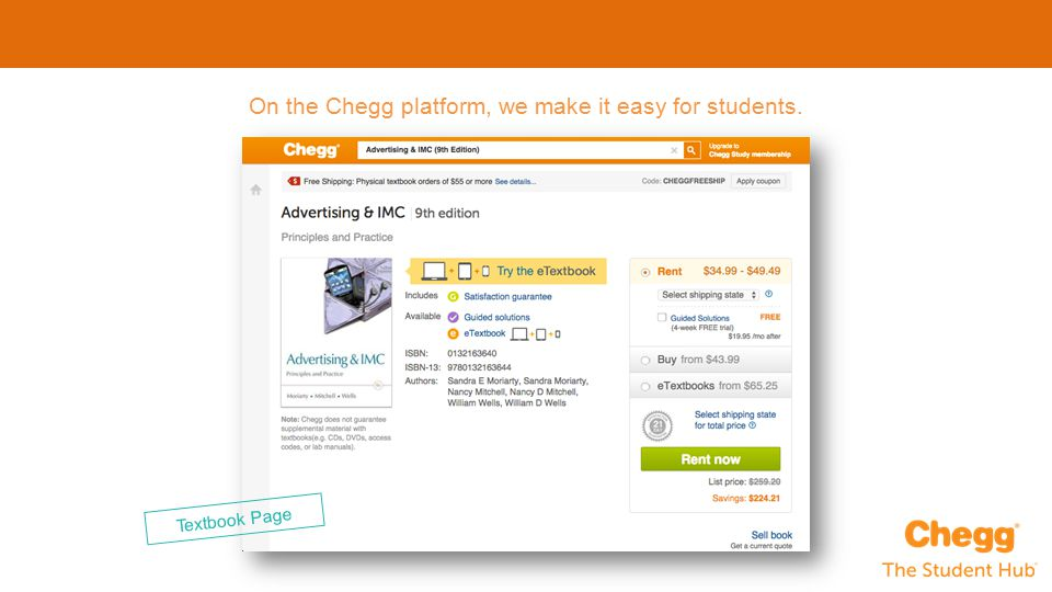 On the Chegg platform, we make it easy for students. Textbook Page