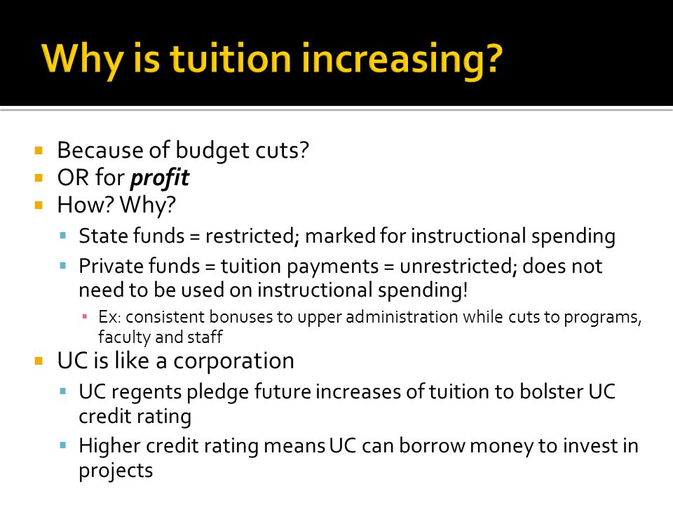 privatization & profit UC regents benefit as individuals from privatization and investments.