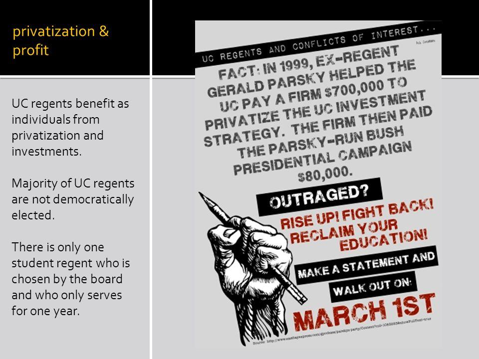 privatization & diversity $13,234 CA resident tuition vs $22, 878 non-CA resident tuition Or $28,518 CA resident predicted budget vs $51,396 non-CA resident predicted budget