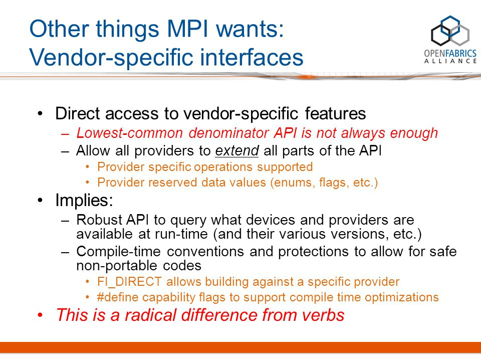 Direct access to vendor-specific features –Lowest-common denominator API is not always enough –Allow all providers to extend all parts of the API Prov