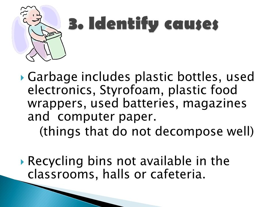  Garbage includes plastic bottles, used electronics, Styrofoam, plastic food wrappers, used batteries, magazines and computer paper.