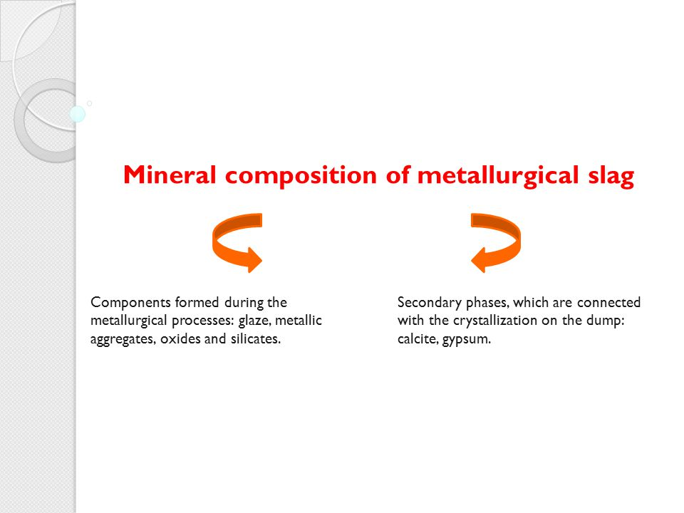 Mineral composition of metallurgical slag Components formed during the metallurgical processes: glaze, metallic aggregates, oxides and silicates. Seco