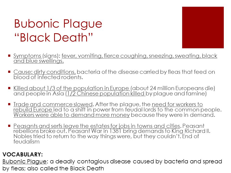 Bubonic Plague Black Death  Symptoms (signs): fever, vomiting, fierce coughing, sneezing, sweating, black and blue swellings.