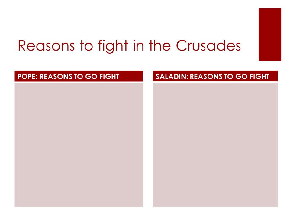 Reasons to fight in the Crusades POPE: REASONS TO GO FIGHT SALADIN: REASONS TO GO FIGHT
