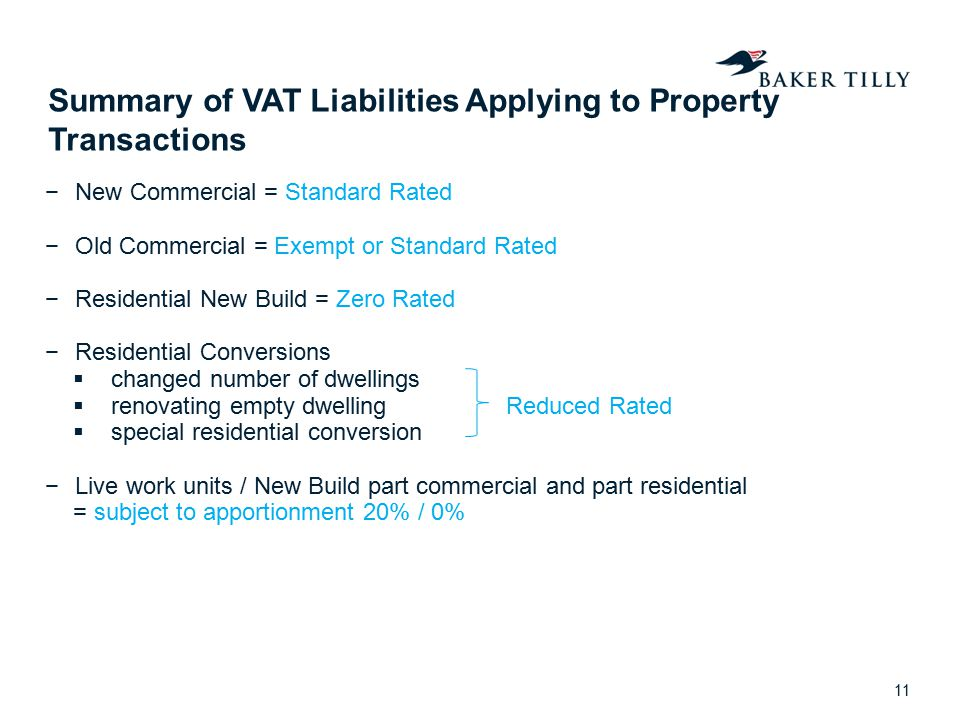 Summary of VAT Liabilities Applying to Property Transactions −New Commercial = Standard Rated −Old Commercial = Exempt or Standard Rated −Residential