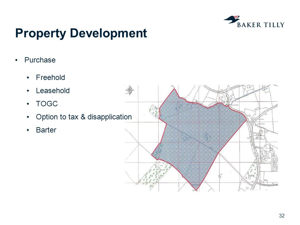 Property Development Purchase Freehold Leasehold TOGC Option to tax & disapplication Barter 32