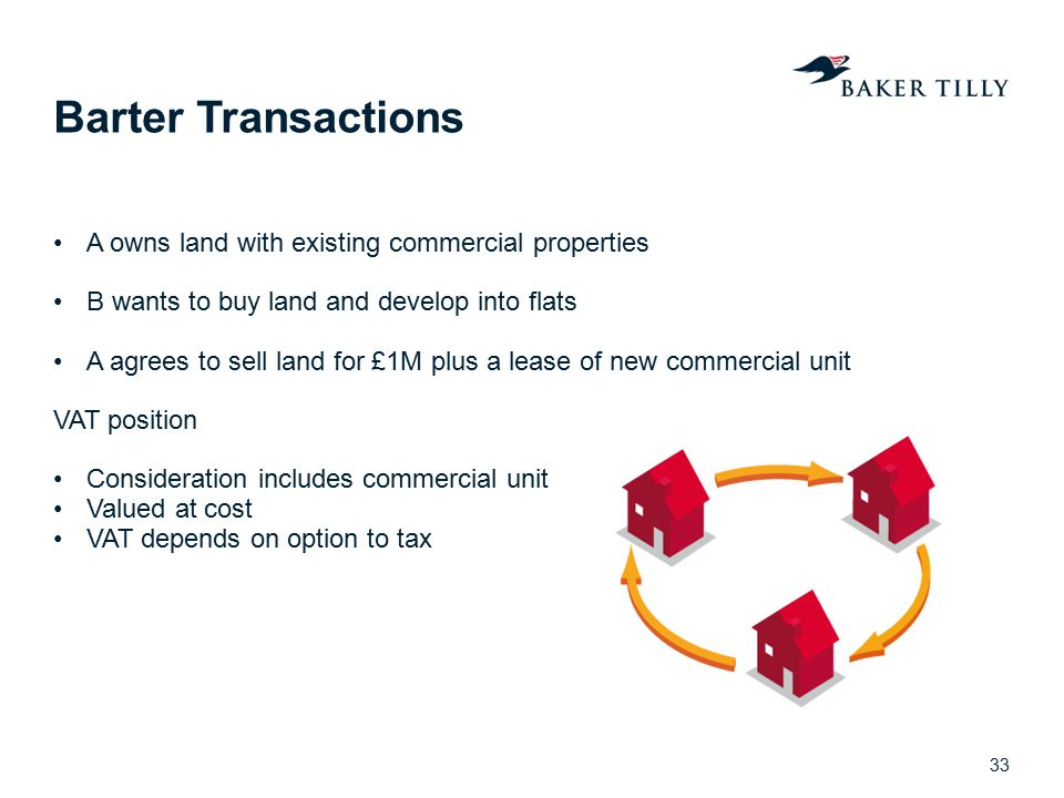 Barter Transactions A owns land with existing commercial properties B wants to buy land and develop into flats A agrees to sell land for £1M plus a le