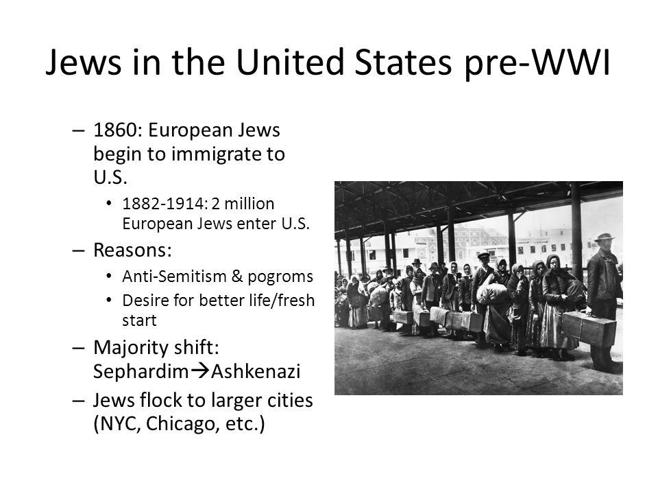 Jews in the United States pre-WWI – 1860: European Jews begin to immigrate to U.S.
