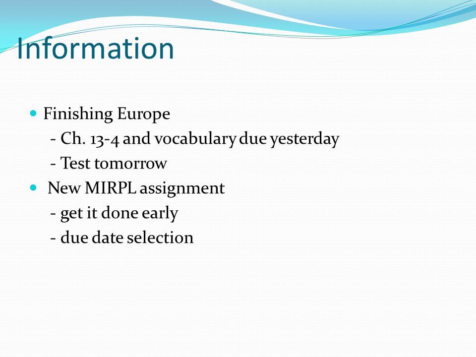Information Finishing Europe - Ch.