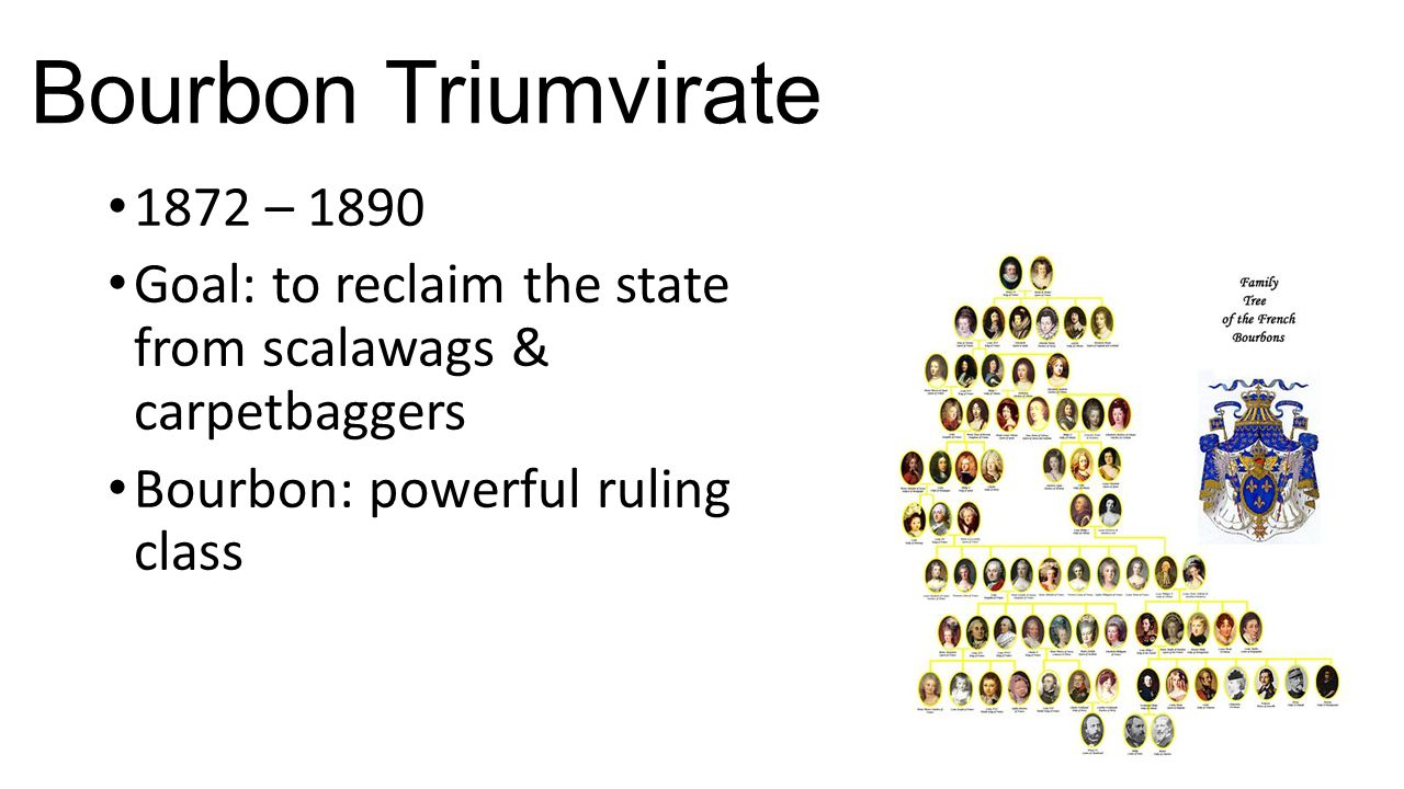 Bourbon Triumvirate 1872 – 1890 Goal: to reclaim the state from scalawags & carpetbaggers Bourbon: powerful ruling class
