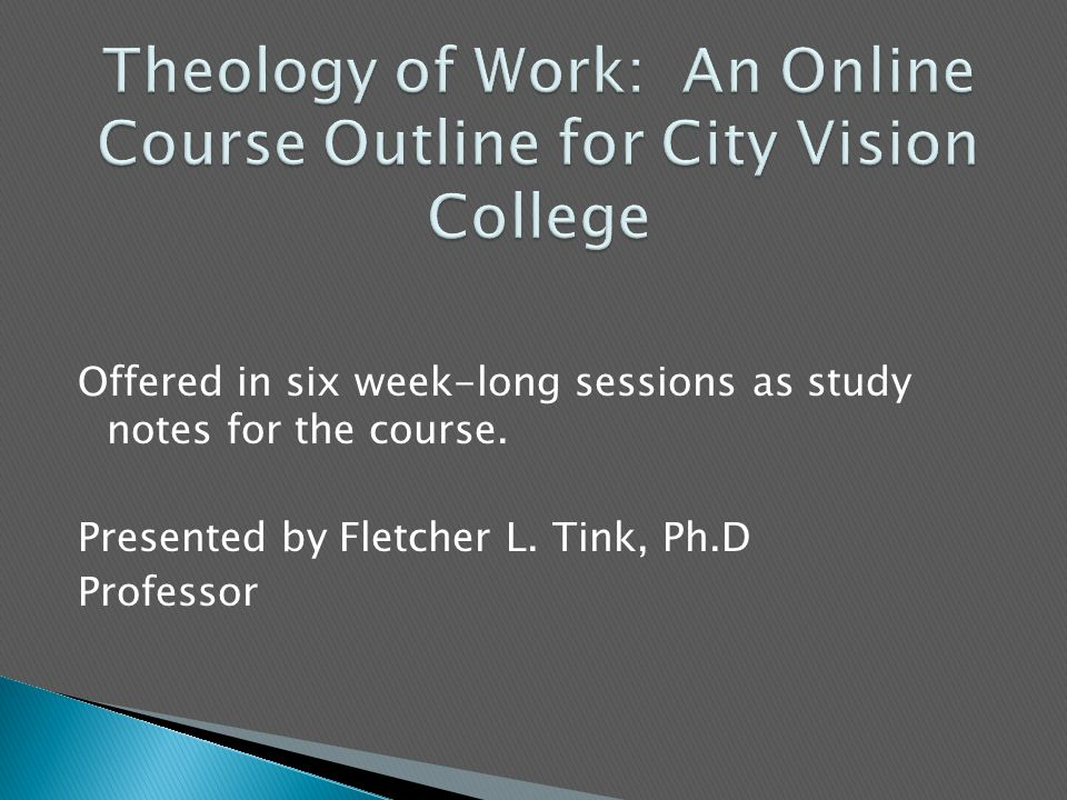 Offered in six week-long sessions as study notes for the course.
