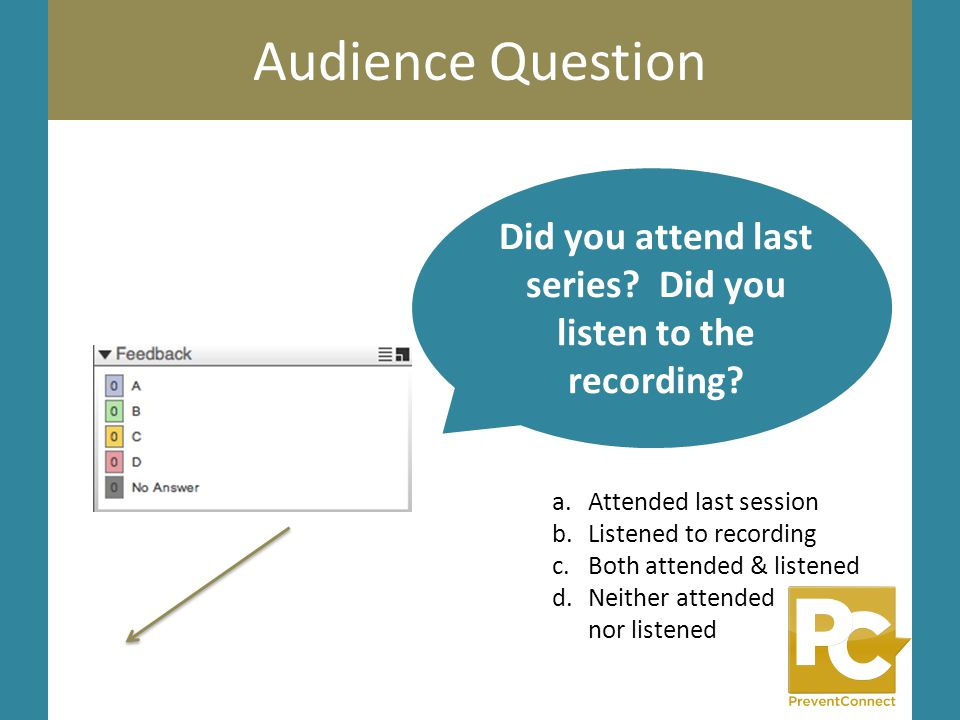 Audience Question Did you attend last series? Did you listen to the recording? a.Attended last session b.Listened to recording c.Both attended & liste