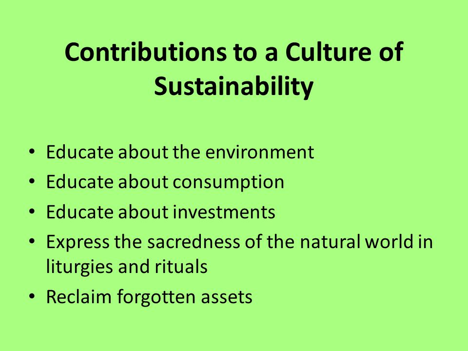 Contributions to a Culture of Sustainability Educate about the environment Educate about consumption Educate about investments Express the sacredness of the natural world in liturgies and rituals Reclaim forgotten assets