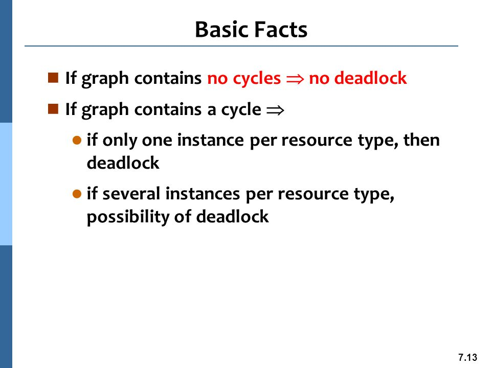 7.14 Methods for Handling Deadlocks n Ensure that the system will never enter a deadlock state n Allow the system to enter a deadlock state and then recover n Ignore the problem and pretend that deadlocks never occur in the system; used by most operating systems, including UNIX