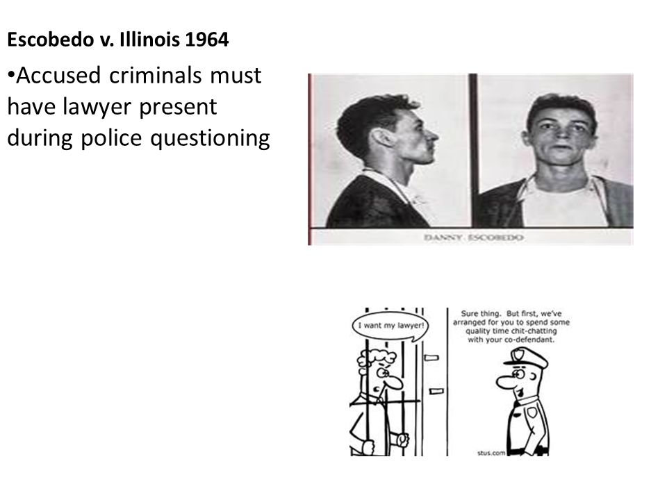 Escobedo v. Illinois 1964 Accused criminals must have lawyer present during police questioning