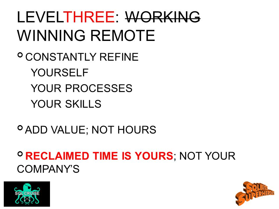 LEVELTHREE: WORKING WINNING REMOTE CONSTANTLY REFINE YOURSELF YOUR PROCESSES YOUR SKILLS ADD VALUE; NOT HOURS RECLAIMED TIME IS YOURS; NOT YOUR COMPANY'S